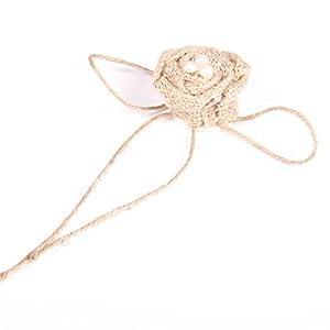 Tinksky Christmas Wedding Embellishments Burlap Pearl Rose Flower Hessian Jute Flower Rustic Vintage,Pack of 9 2