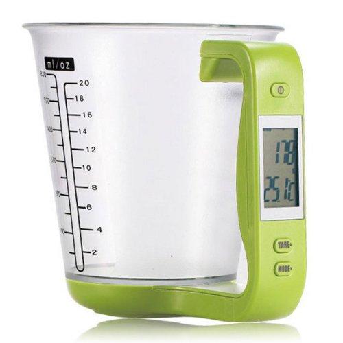 sudarathkshop LCD Digital 1KG Measuring Cup Kitchen Scale (Light Green)