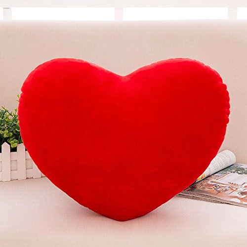 S-ssoy Plush Pillow Heart Shape Cushion Fluffy Throw Pillows Decorative Back Cushions for Friends Valentine's Day (Red)