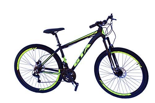 Bicicleta aro 29 gta al t17 freio disco hidraulico 21v preto d/amarelo