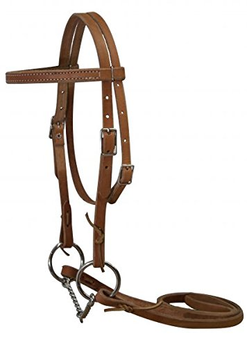 Showman Double Stitched Light Oil Leather Pony Bridle with Twisted Wire Snaffle Bit and Reins. Made in the USA