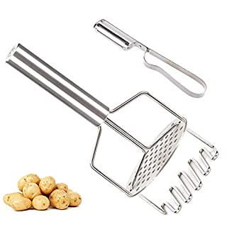 Dual-Action Potato Masher and Ricer, with Multi-Function Vegetable Peeler Potato Stainless Steel Grinder for Mashed Potatoes, Vegetables and Fruits