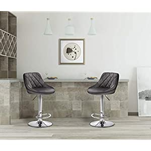 WOLTU Bar Stools Dark Grey Bar Chairs Breakfast Dining Stools for Kitchen Island Counter Bar Stools Set of 2 pcs Velvet Exterior/Adjustable Swivel Gas Lift/Chrome Steel Footrest & Base