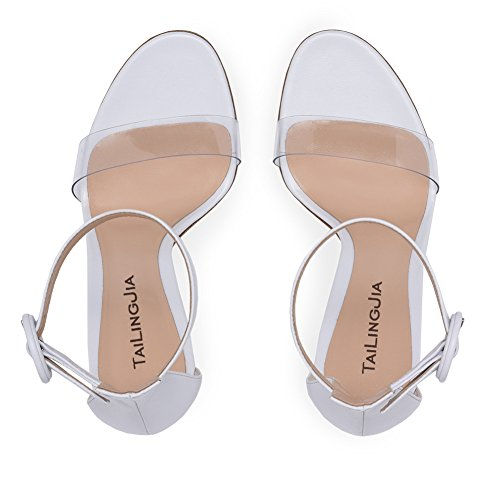 Stilettos PVC Shoes B Party High Womens Sandals Heel Dress Stiletto Ladies Buckle Club Heel amp; Party Casual Shoes Evening Strap for pqR8IX
