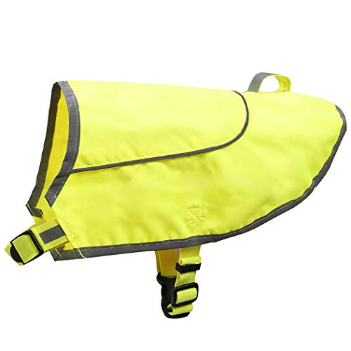 (A-SAFETY Dog Reflective Vest, Hi Vis Safety Vest Keeps Dogs Visible On and Off Leash in Both Urban and Rural Environments Yellow, Small)