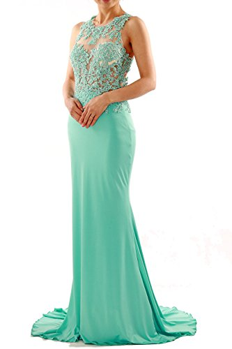 MACloth Women Mermaid Long Lace Jersey Long Prom Dress Formal Party Evening Gown Turquesa