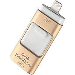 USB Flash Drive Data Drive Lightning External Memory Storage 16GB/ 32GB for Desktop PC/iOS/iPhone/ipad/Android , gold , 32