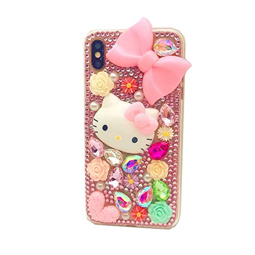 DVR 4000 Galaxy S9 Plus Diamond Case,Handmade Pink Bow Cartoon Cat Bling Glitter Diamond Shining Sparking Crystal Rhinestone Phone Case for Samsung Galaxy S9 - Hello Kitty Case Bling