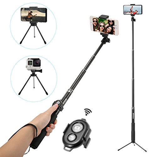 Selfie Stick Bluetooth, GLISTENY Highly Extendable Monopod with Tripod Stand Adjustable Clamp Skidproof Grip Handle and Bluetooth Remote Shutter for Smartphones, GoPro, Compact Cameras (Black)