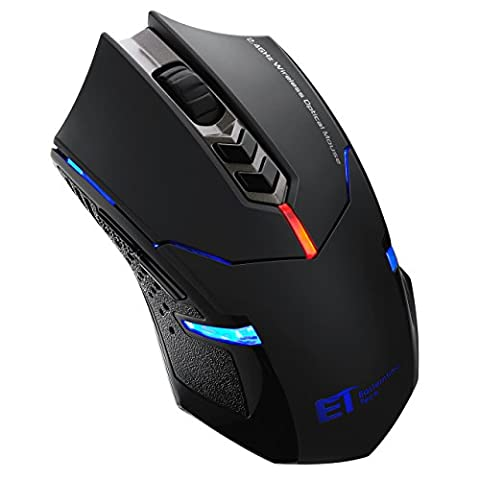 Pictek 2400DPI Adjustable Game Mice 2.4G Wireless Gaming Mouse with 7-Button,Quiet Button Design for Laptop Notebook PC Laptop Computer, (Gaming Mouse Wireless Silent)