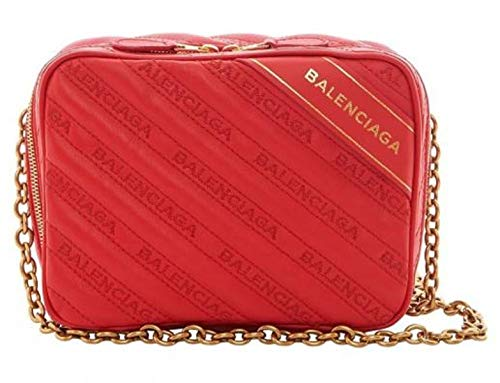 Balenciaga Veau Matelasse Embroidered Logo Red Rouge Blanket Reporter Chain Bag