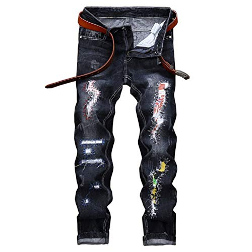 (Fashion Males Holes Jeans European Traditional Motorcycle Biker Jeans Mens Rap Ripped Slim New Denim Jeans Pants Dropshipping Dark Blue)