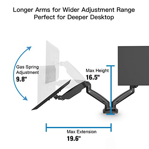 Dual Arm Monitor Stand - Adjustable Gas Spring Computer Desk Mount VESA Bracket with C Clamp/Grommet Mounting Base for 13 to 27 Inch Computer Screens - Each Arm Holds up to 14.3lbs by HUANUO (Image #4)