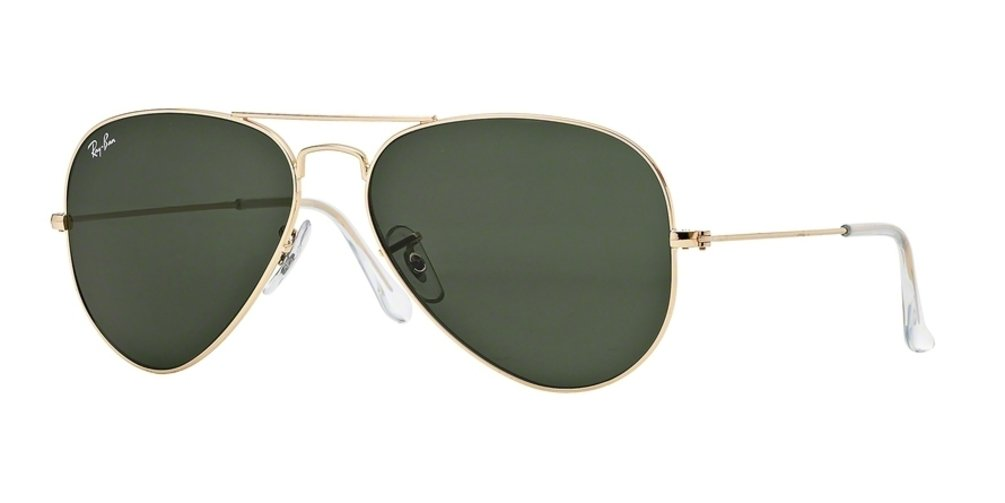 RAY-BAN RB3025 Aviator Large Metal Sunglasses, Gold/Light Green, 58 mm by RAY-BAN