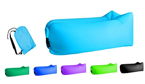 Jsutyer Inflatable Lounger Portable Air Couch, Air Sofa Bag, Indoor or Outdoor Inflatable Chair, Ideal for Child, Inflatable Lounge for Camping Beach Park and Backyard (Sky Blue) ()