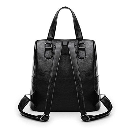 Leather Bag Vintage Satchel School Black Girl Shoulder Women Bag Backpack Travel Theshy Soft wZqtZX