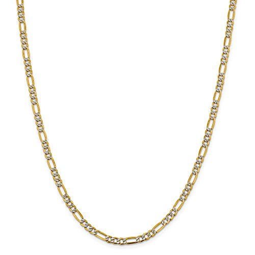 14k Yellow Gold And Rhodium Plated 3.9mm Semi Solid Figaro Chain Necklace 24inch 14k Yellow Gold Rhodium Plated