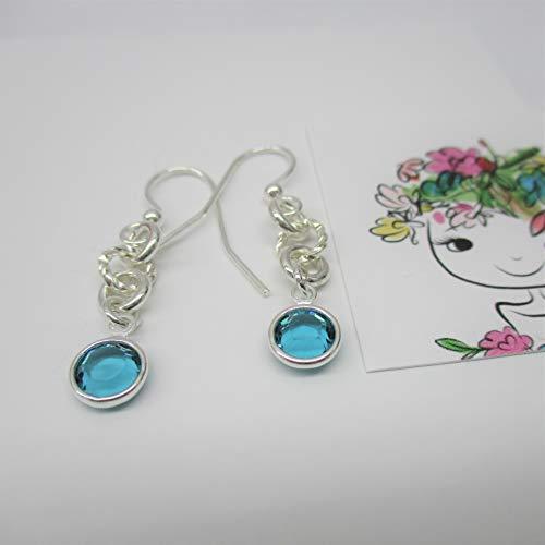 Birthstone Crystal Earrings, swarovski Crystal Round setting Silver Earrings, swarovski Jewelry