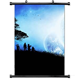 Fashion Style Posters,Children Tree Silhouettes Planets Birds High Quality Home Decor Wall Scroll Poster Fabric Painting 23.6 X 35.4 Inch (60cm X 90 cm)