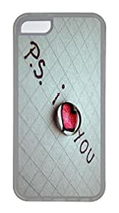 iPhone 5C Case, Customized Protective Soft TPU Clear Case for iphone 5C - I Love U Cover