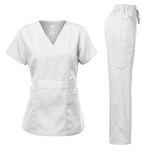 Medical Uniform Women's Scrubs Set Stretch Contrast Pocket White ()