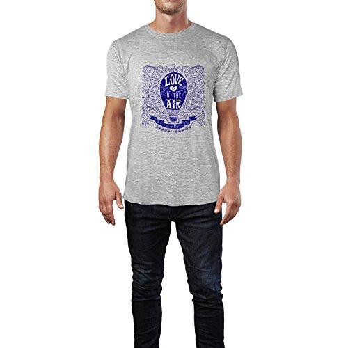 SINUS ART® Heißluftballon Zeichnung Love Is In The Air Herren T-Shirts in hellgrau Fun Shirt mit tollen Aufdruck