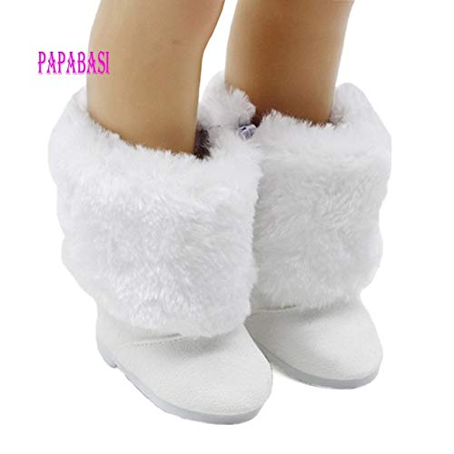 XuBa Fashion Mini White Fur&Cloth Boots for 18 Inch Doll Shoes Family Game Doll Ornament Accessories Show