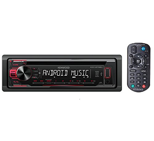 Kenwood KDC-MP168U WMA/MP3 CD Receiver with Front Panel USB and AUX Input and Remote Control (Aux Kenwood Cable)