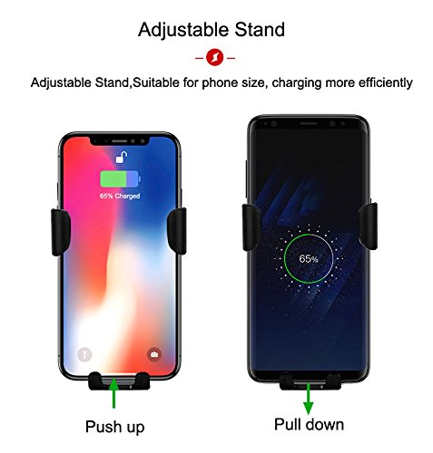 Qi Fast Charging Car Phone Holder Air Vent Gravity Car Stand Kit for Smartphone and All QI-Enabled Phone by ZONV Wireless Car Charger Mount