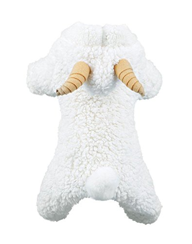 Vedem Dog Warm Fleece Jumpsuit Costumes Pet Cold Weather Pajamas Small Dogs Coat Clothes (L, White-Sheep) -