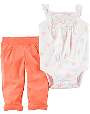 Baby Girls' 2-Piece Floral Bodysuit And Neon Pants Set