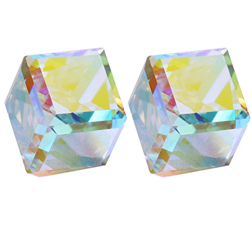 Cube Earrings Stud- Aurora Colorful Crystals of SWAROVSKI Elements (Cubic Zirconia) Cube Swarovski Austrian Crystal