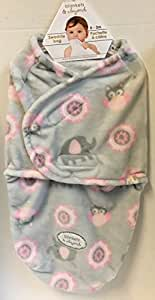 Blankets & Beyond Swaddle Bag Pink & Grey Owls & Elephants (0-3 mos.)