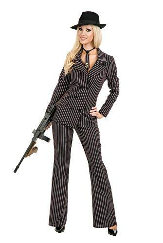 Charades Women's Gangster Moll Suit Costume, As Shown, Small -