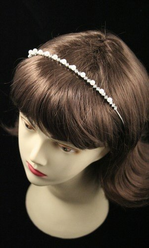 Silv White pearl and crystal alice style tiara in a cream box. by Mias Accessories