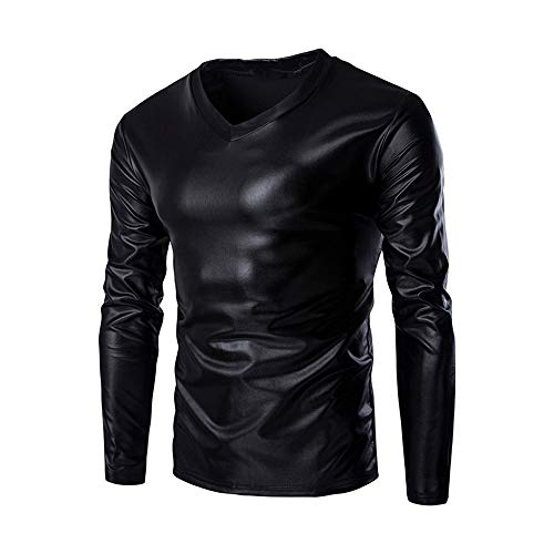 ZYEE Clearance Sale! Mens Blouse Metallic Shiny Wet Look Long Sleeve T-Shirt Top Slim Fit V Neck Blouse (Evening Bag Pouch Metallic)