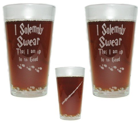 I Solemnly Swear That I Am Up To No Good with Elder Wand and Mischief Managed - SET OF 2 - Engraved Beer Pint Glass - 16 oz - Permanently Etched - Fun & Unique Gift! (Elder Beer)