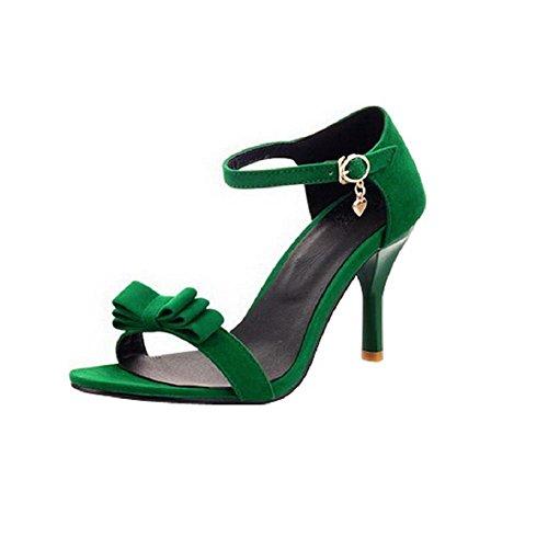 VogueZone009 Mujeres Sólido Puntera Abierta Hebilla Sandalia de Tacón con Colgantes Verde