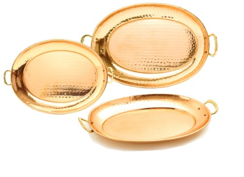 Copper Oval Serving Tray - Old Dutch Hammered Copper Oval Trays with Cast Brass Handles, Set of 3