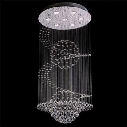 7PM D24″ X H59″ Modern Contemporary Crystal Chandelier Luxury Round Spiral Dual Sphere Rain Drop Lamp Clear LED Light Staircase Lighting Fixture Flush Mount