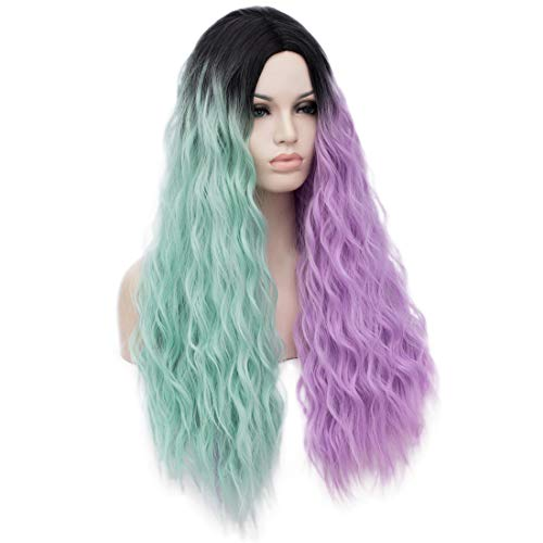 (ELIM Long Wigs Curly Wavy Mint Green Purple Cosplay Wig Halloween Costume Wigs)