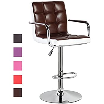 Modern Swivel Leather Adjustable Height Bar Stools With Backs And Arms Brown