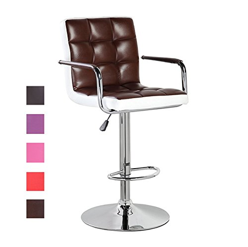 - Modern Swivel Leather Adjustable Height Bar Stools with Backs and Arms Brown
