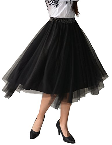 Relaxfeel 3 couleurs Midi Tulle Tutu Ballet Ruffle nuptiale Petticoat princesse Jupe Noir