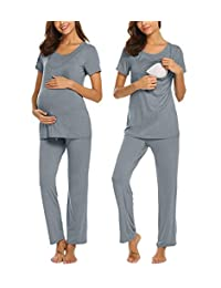 Liveinu Women's Maternity Nursing Nightgown for Breastfeeding Sleepwear Short Sleeve 2 Pcs Top and Pants Set