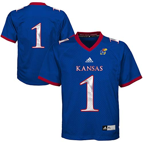 adidas NCAA Kansas Jayhawks # 1 Youth Boys Fashion Football Jersey (Youth -