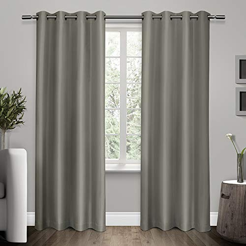 (Exclusive Home Curtains Shantung Faux Silk Thermal Window Curtain Panel Pair with Grommet Top, 54x96, Viridian Grey, 2 Piece)
