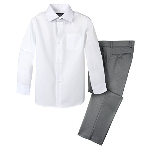 Spring Notion Boys' Dress Pants and Shirt 10 Grey/White -