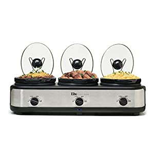 Elite Platinum EWMST-325 Triple Slow Cooker Buffet Server, Adjustable Temp Dishwasher-Safe Oval Ceramic Pots, Lid Rests, 3 x 2.5Qt Capacity Stainless Steel
