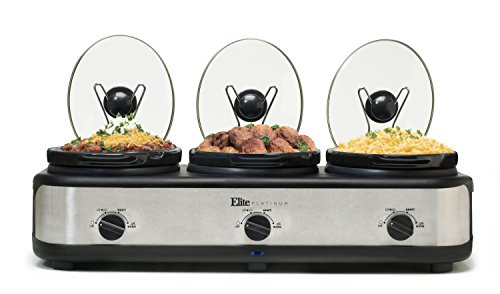 Elite Platinum EWMST-325 Triple Slow Cooker Buffet Server, Adjustable Temp Dishwasher-Safe Oval Ceramic Pots, Lid Rests, 3 x 2.5Qt Capacity Stainless Steel ()